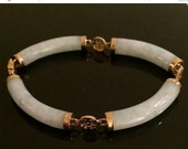 RESERVED End of Summer Sale Vintage Jade 14K Yellow Gold Mint Jade Bracelet