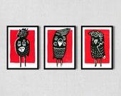 Vögel Trio Linolschnitt Set A6