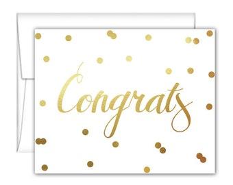 Confetti Congrats Foil Note Cards - Gold Foil Note Cards - Gold Foil Cards - Wedding Congrats Cards - Congratulations Cards