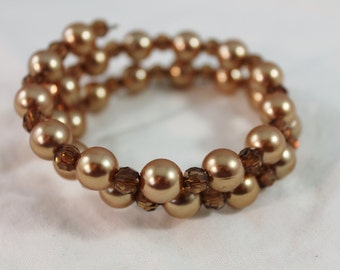 Beautiful Amber Color Faux Pearl and Plastic Bead Wrap Around Bracelet