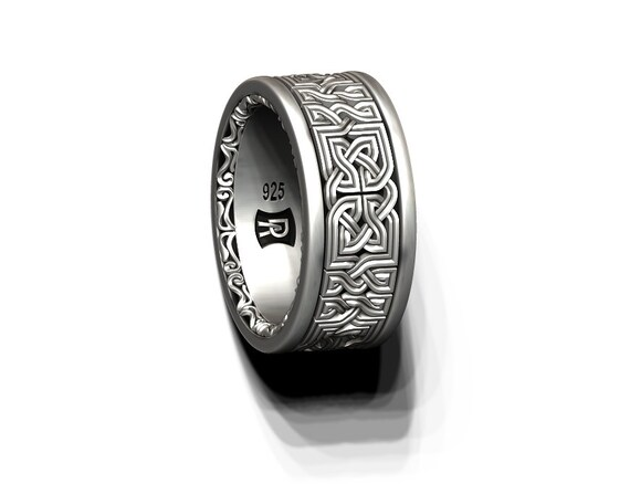 Celtic knot band - wide - decorative edge in Sterling Silver