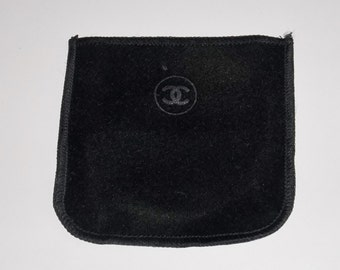 Vintage Chanel Compact Case Slipcover, Protective Sleeve, Black Velvety Fabric.