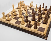 Premium Handcrafted Hardwood Chess Set Featuring Two Tiered Board And Peruvian Walnut Spalted Maple Chess Tiger Maple Walnut Chess Gift Idea