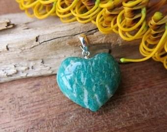 Amazonite Heart Pendant