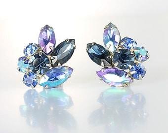 Blue Rhinestone Earrings, Aurora Borealis Blue crystal, Clip on Juliana style vintage 1960s jewelry