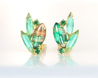 Juliana Earrings, Emerald Green Rhinestone Earrings, Aventurine glass vintage fashion