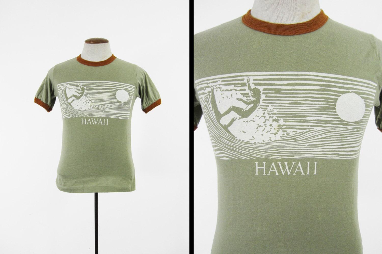 Vintage 70s hawaii surfer t shirt retro ringer 5050 tee for Retro t shirts uk