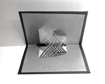 Geometric Lines 3D POP UP CARD W/Intricate Cuts in Opposite Directions, Origamic Architecture Principles in Metallic Silver & Black OOaK