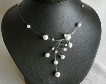 White Necklace, Bridal Necklace, Illusion Necklace , Bridesmaids necklace, Glass Pearl necklace