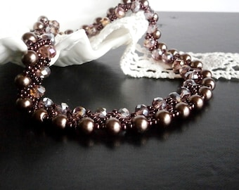 Statement Necklace, Mothers Day Gift, Pearl and Seed beads necklace
