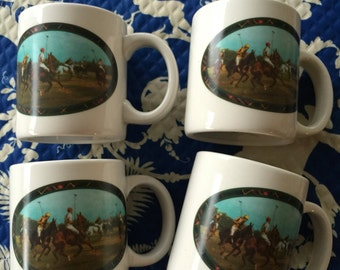 Ralph Lauren set of four coffee mugs. Equestrian collection