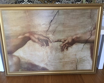 Michelangelo Creation of Adam. Sistine Chapel. Large oversized painting with gilded frame. Canvas. Humanity