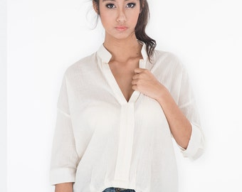 Loose Fit Blouse with Mandarin Colar / Women's shirt - Gauze Cotton Blouse : Simply Touch Collection No.1