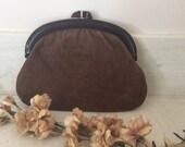 Vintage Brown Suede Clutch Bag with Amber Plastic Frame, Vintage Eighties 1980s Handbag , Vintage Pocketbook, Vintage Purse,  Vintage Suede