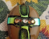 Glass fusion cross with dichroic and rhinestones