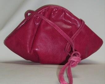 Vintage SUSAN GAIL Raspberry Pink Karung Snake Handbag Shoulderbag