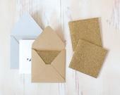 Gold Glitter Mini Square Cards - 10 pc