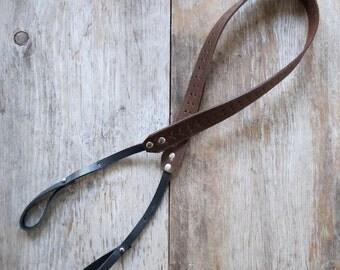 Repurposed Brown Leather Camera Strap