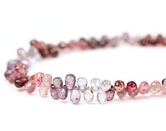 Spinel Micro Faceted Teardrop Briolettes 4 Pink Mauve Lavender Plum Orange Semi Precious Gemstone