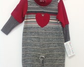 Baby Romper, Red Heart, Grey striped cotton baby one piece, up-cycled, down-sized cotton romper, toddler and, baby clothes, cotton stripes,