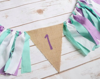 Purple High Chair banner - under the sea birthday - purple 1st birthday - Little Mermaid Birthday -