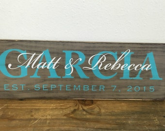 Personalized family sign - distressed - couple wedding gift - family last name, first names, established date with arrows LR-097