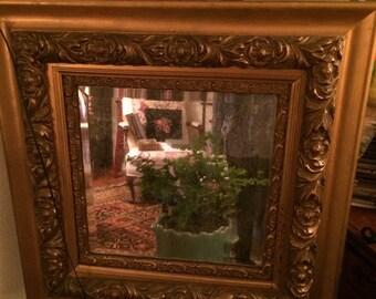 Victorian Wood Decorative Mirror, Circa 1890