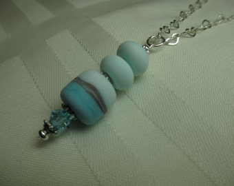 Triple Lampwork Bead Necklace in Soft Shades of Blue