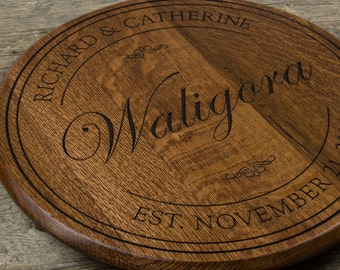 Personalized engraved Barrel head Lazy Susan, Personalized Gift, Wedding Gift, Anniversary Gift, bridal shower, housewarming gift