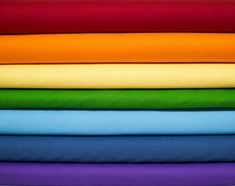 Kona Rainbow ROYGBIV Fabric Bundle -  Half Yard Bundle - 7 Half Yard pieces (B388)