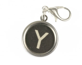 Typewriter key charm wish pendant swz