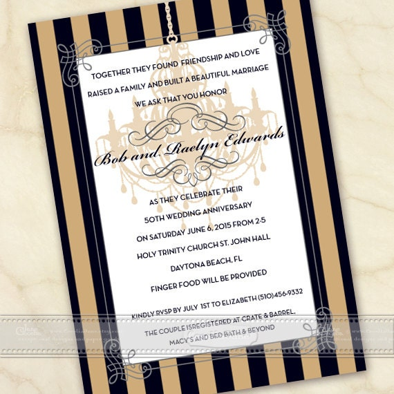 50th wedding anniversary invitation, gold and black invitation, anniversary party invitation, gold and black wedding invitation, IN495