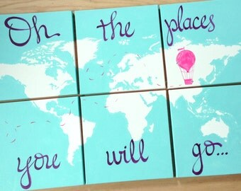 hot air balloon. oh the places you will go. 6 - 12x12's world map on canvas. 3'x2' personalize, custom colors nursery decor . sincerelyyou
