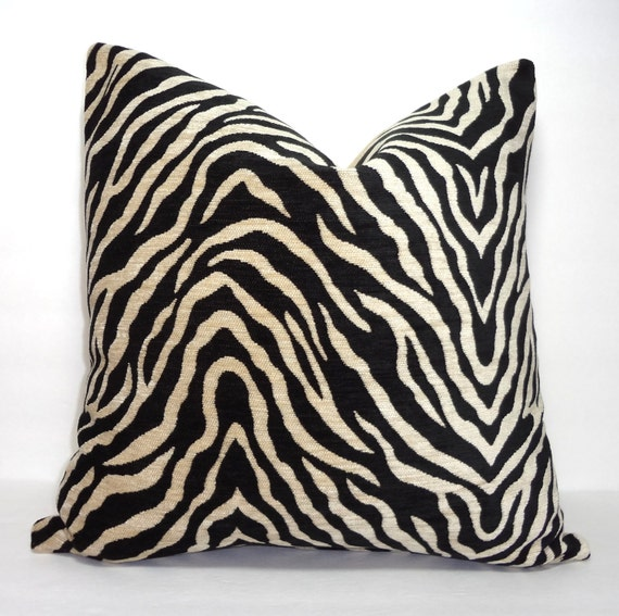 Black & Tan Zebra Print Pillow Cover Throw Pillow Decorative