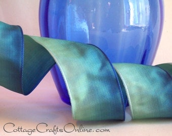 "Wired Ribbon 1 1/2"" Ombre Teal Blue Green - FIFTEEN YARD ROLL - Offray Teal, Summer, Seaside, Ocean Craft Wire Edge Ombre Ribbon"
