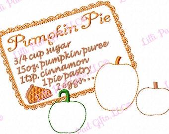 Pumpkin Pie Recipe - Applique - Machine Embroidery Design - 4 Sizes