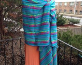 Mexican Fabric Wrap, Aztec Cambaya Rebozo, Blue Tribal Pattern, Doula and Midwife Tools 3 yard Long Scarf