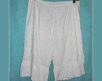 Vintage White Cotton Pantaloons Bloomers c. 1920 – Size L (2)