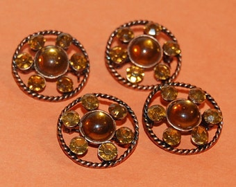 4 Scatter Pins Copper Amber Star Vintage Brooches Set