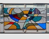 Stained glass panel window Abstract geometric multi color stained glass window panel window hanging colorful 0101