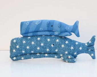 Stuffed whale softie plush toy blue whales handmade toy for boy and girl nautical soft toy baby shower gift and nursery decor
