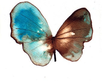 sea blue turquoise and brown butterfly. ORIGINAL ART watercolour painting