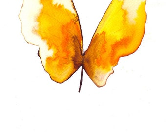 sunny spring yellow butterfly original watercolour and ink painting