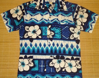 Mens Vintage 60's Richard Douglas Mod Floral Hawaiian Aloha Shirt - S - The Hana Shirt Co