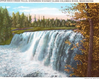 Upper Rock Creek Falls, Evergreen Highway, Columbia River, Washington - Vintage Postcard - Postcard -  Unused (WWW)