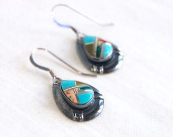 Southwest Dangle Earrings Vintage Sterling Silver Turquoise Colorful Southwestern Inlaid Stone Dangles