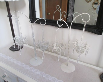 White candle holders wedding candle holder pair hanging acrylic crystal candelabra pair votive candle holders shabby party candle holders