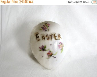 Valentine SALE Antique Victorian Large Blown Glass  Flower Decorated Easter Egg