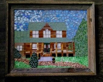 Custom House Mosaic, House Mosaic, Building Mosaic, School Mosaic, Church Mosaic