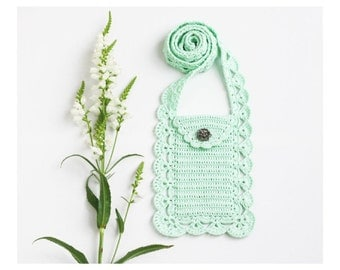 Mint crossbody phone purse Boho chic Back to school Cell phone pouch Smartphone bag Wallet Case Cover Crochet lace Gift for her Summer